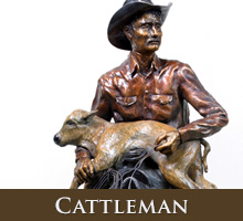 Cattleman - bronze sculpture