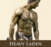 Heavy Laden - bronze sculpture