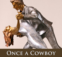 Once a Cowboy - bronze sculpture